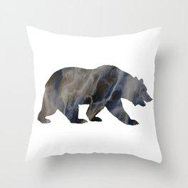 Marble Bear Silhouette Throw Pillow