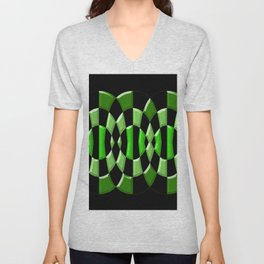The Green Thang - Abstract Green and Black Retro Design Unisex V-Neck