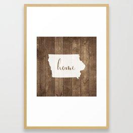 Iowa is Home - White on Wood Framed Art Print