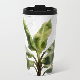 Banana Plant on White Marble and Checker Wall Travel Mug