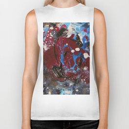 red explosion abstract paint Biker Tank