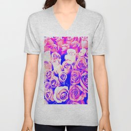bouquet of roses texture pattern abstract in pink and purple Unisex V-Neck