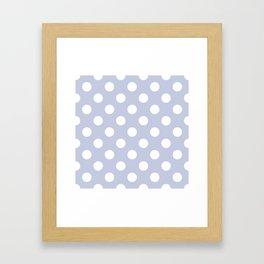 Light periwinkle - grey - White Polka Dots - Pois Pattern Framed Art Print