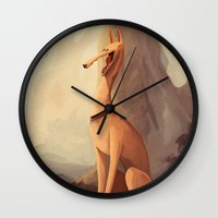 greyhound Wall Clocks featuring GREYHOUND by GentleSquid