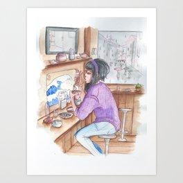 Rain and food Art Print