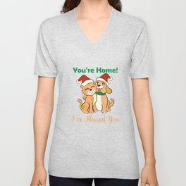 You're Home I've Missed You Cat Dag Lover Christmas Unisex V-Neck