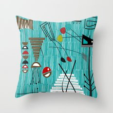 Mid-Century Tiki Tok Throw Pillow