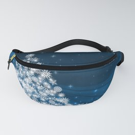 Blue Christmas Eve Snowflakes Winter Holiday Fanny Pack