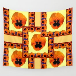 DECO ORANGE PANSIES ON YELLOW COLOR Wall Tapestry