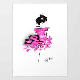 Fashion model looking cool in pink to make the boys wink Art Print