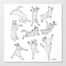9 Flying Cats Canvas Print