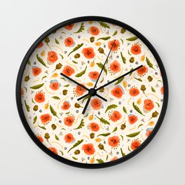 Walk in a Poppy Field, Vintage Cream, Blue Watercolor amongst Red Poppies,Flowers, Leaves & Seedpods Wall Clock
