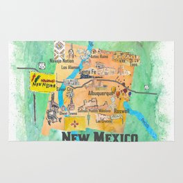 USA New Mexico State Illustrated Travel Poster Favorite Map Rug