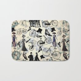 Victorian Bicycles and Fashion Bath Mat