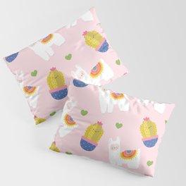 Llama Loves Pink Pillow Sham