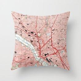 Dallas Texas Map (1995) Throw Pillow