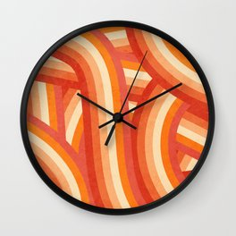 Red, Orange and Cream 70's Style Rainbow Stripes Wall Clock