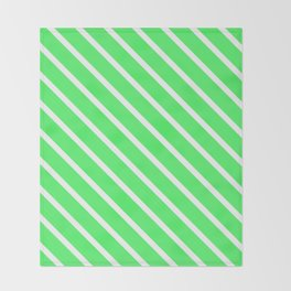 Mint Julep #1 Diagonal Stripes Throw Blanket