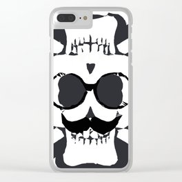 old funny skull and bone art portrait in black and white Clear iPhone Case