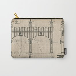 Pittsburgh Bridge Wall Art, 1914 Blueprint, Pittsburgh History & Architecture Carry-All Pouch