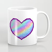 holographic Mugs featuring Holographic Heart by Sombras Blancas Art & Design