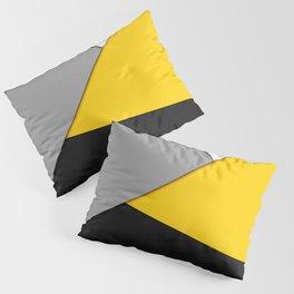 Simple Modern Gray Yellow and Black Geometric Pillow Sham
