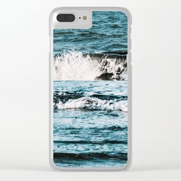 Moody Waves Clear iPhone Case