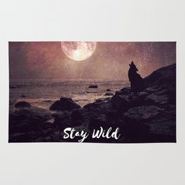 Stay Wild Moon Child, moon saying, full moon wolf howling, dramatic astrology spiritual Rug