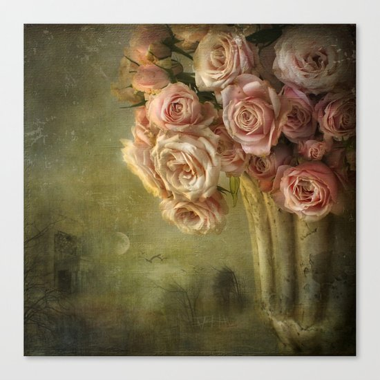 moonlight & roses Canvas Print