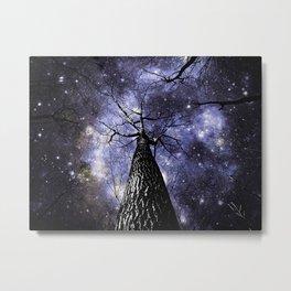 Wintry Trees Midnight Blue Galaxy Skies Metal Print