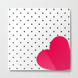 Red heart polka dot Metal Print