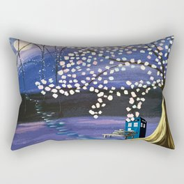 Tardis With Blossom Tree Art Painting Rectangular Pillow