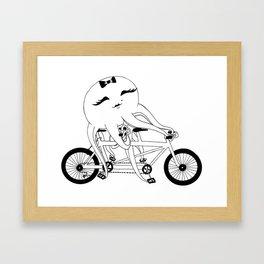 Octopus on a Tandem Bike (in B&W) Framed Art Print
