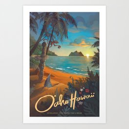 Retro Hawaii North Shore Travel Poster Art Print