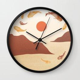Koi fishes dancing at sunset  Wall Clock