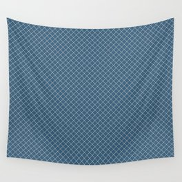 Linen White Angled Grid Line Pattern On Blue Pairs To 2020 Color of the Year Chinese Porcelain Wall Tapestry