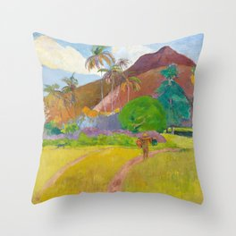 Tahitian Landscape by Paul Gauguin Throw Pillow