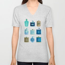 Flask Collection – Blue and Tan Palette Unisex V-Neck