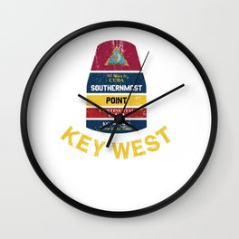 Southernmost Point - Key West Florida Keys Souvenir for Island Lovers Wall Clock