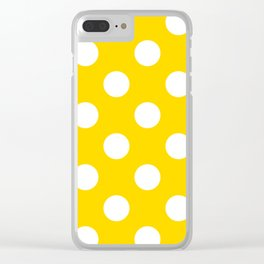 Large Polka Dots - White on Gold Yellow Clear iPhone Case