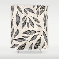 boho Shower Curtains featuring BOHO FEATHERS  by Vasare Nar