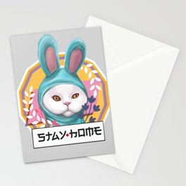 Cute cat stay home in bunny blue pajamas kugurumi (light background version) Stationery Cards