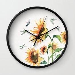Sunflowers and Hummingbirds Wall Clock