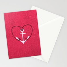 Fuschia Pink Vintage White Anchor Girly Love Heart Stationery Cards