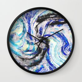 psychedelic geometric polygon pattern abstract in blue yellow black Wall Clock