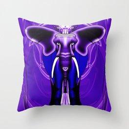 Purple Crown Chakra Elephant Throw Pillow