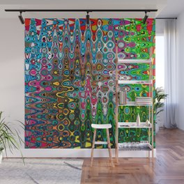 Vibrant Hippie Wiggly Pattern Wall Mural