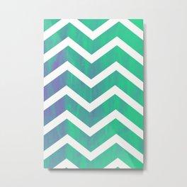Patterned Chevron (Green) Metal Print