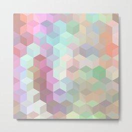 Hexagon Cube Tiles 189 Metal Print