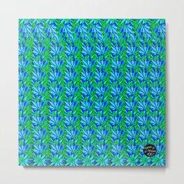 Cannabis Print Green and Blue Metal Print